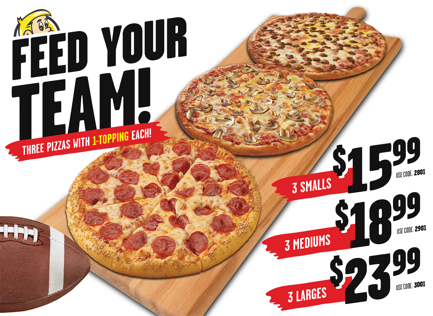 Three 1-Topping Pizza's for One Low Price